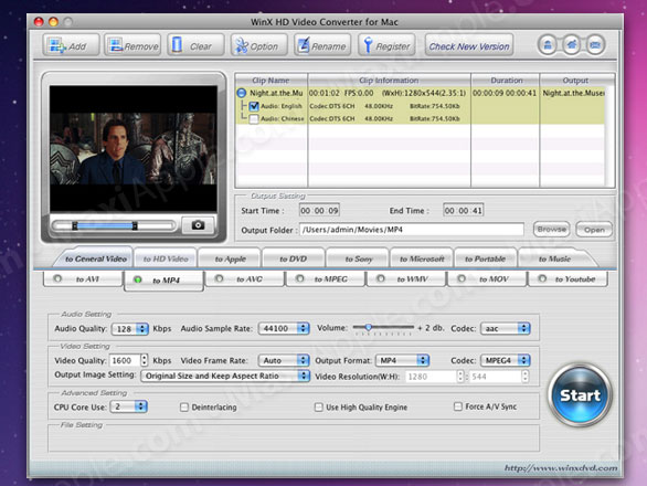 WinX HD Video Converter Mac OSX WinX HD Video Converter Mac OSX : Convertisseur Video HD Gratuit
