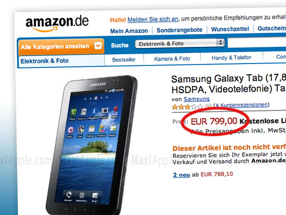 galaxy tab amazon 2 Samsung Galaxy Tab : iPad Killer de 7 pouces à 799 €