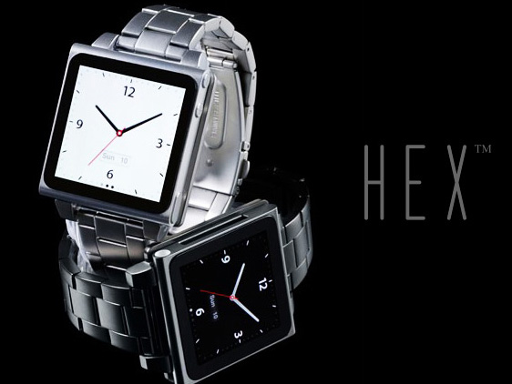 hex watch montre ipad nano 1 HEX Watch Vision iPod Nano 6 : Elegants Bracelets Montre Metal ou Cuir (images)