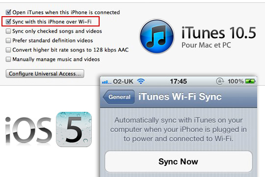 synch iphone ios 5 wifi iPhone iPod Touch iPad : Comment les Synchroniser en WiFi avec iTunes
