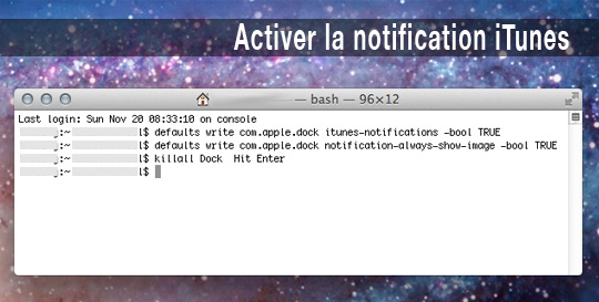 osx notification itunes 2 Astuce Mac OSX Lion : Activer la Notification iTunes dans le Dock