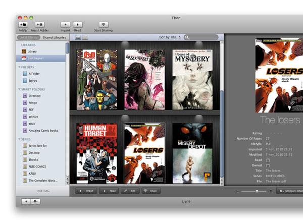 Ehon est un logiciel pour Mac OSX exclusivement dédié au classement de vos  bandes dessinées et livres numériques aux formats ePub, PDF, CBR/RAR,  CBZ/ZIP, ...