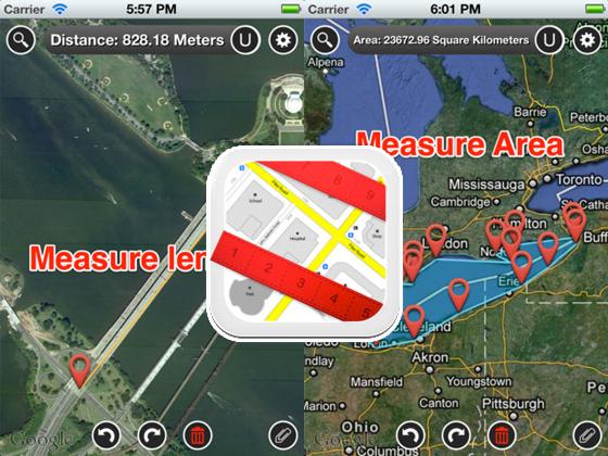 Map Measure iPhone iPad 1 - Map Measure iPhone iPad : Calculer Facilement Distances et Surfaces