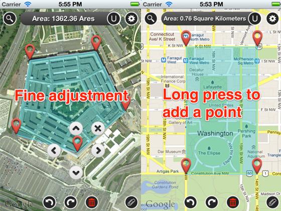 Map Measure iPhone iPad 2 - Map Measure iPhone iPad : Calculer Facilement Distances et Surfaces