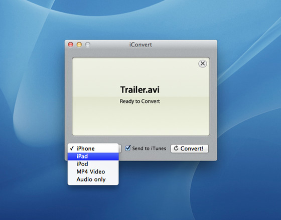 iConvert Mac OS X - iConvert Mac OS X : Convertir vos Vidéos pour iPhone iPad iPod (gratuit)