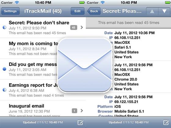 iTrackMail iPhone iPad - iTrackMail iPhone iPad : Avis de Reception de vos Mails (gratuit)
