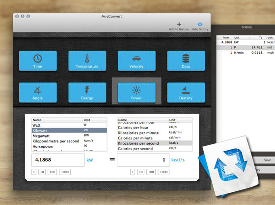 AnyConvert Mac OSX - Convertisseur d'Unités de Mesure (gratuit)