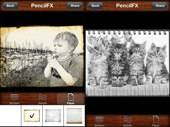 pencilfx iphone ipad 2 PencilFX iPhone iPad : Transformer vos Photos ou Vidéos en Dessins (gratuit)