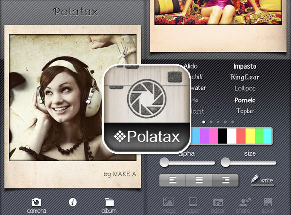 1 Polatax iPhone iPod Touch Polaroid Polatax iPhone : Effets Polaroid HD et Typographie (gratuit)