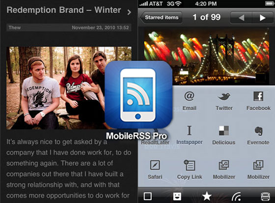 MobileRSS Pro HD Mac OSX iPhone iPad - Client Google Reader (gratuit)