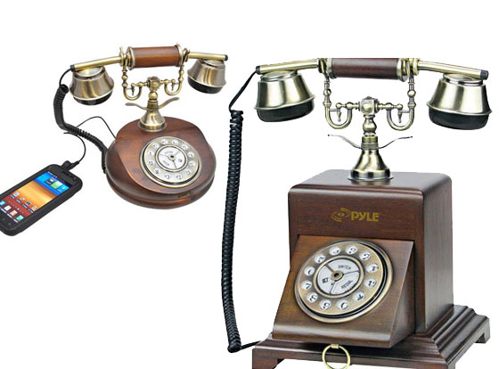 3 Pyle Audio Retro Home Telephone iPhone images - Pyle Audio Retro Home Téléphone : Dock et Telephone Rustique pour iPhone (images)