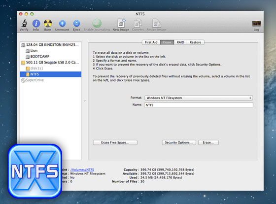 Paragon NTFS OSX - Gerer vos Disques NTFC sur Mac (gratuit)
