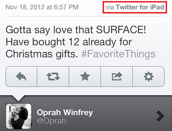 oprah winfrey twitter microsoft surface Oprah Winfrey fait la Promo de SURFACE sur Twitter avec son iPad