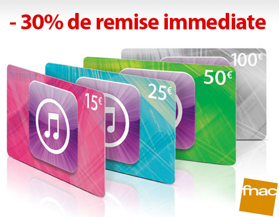 Carte Cadeau Apple Fnac.Cartes Cadeaux Itunes Store 30 De Reduction Immediate A