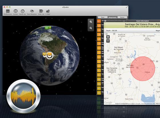 xQuake Mac OSX - Suivez les Tremblement de Terre dans le Monde (gratuit)