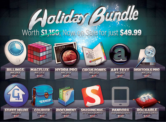 Bundle Hunt Mac OSX Noel 2012 : 12 Logiciels Art Text, Stuffit Dlx, Hydra Pro, etc. à 49,99$
