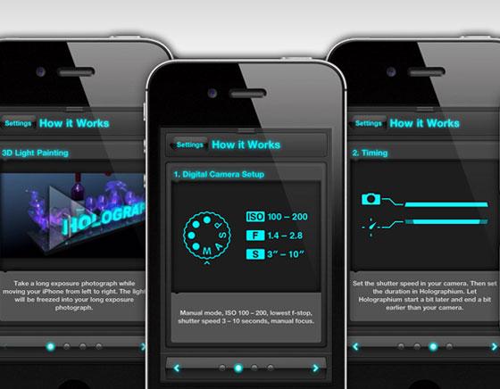 Holographium iPhone iPad : Dessiner et Ecrire en 3D Holographique sur vos Photos (gratuit)
