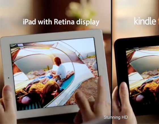 1 Amazon Kindle Fire HD vs iPad 4 Retina Amazon Kindle Fire HD vs iPad 4 Retina : Une Pub Comparative (video)
