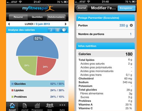 2 MyFitnessPal iPhone Compteur Calories - MyFitnessPal iPhone iPad : Compteur de Calories et Exercices pour Maigrir (gratuit)