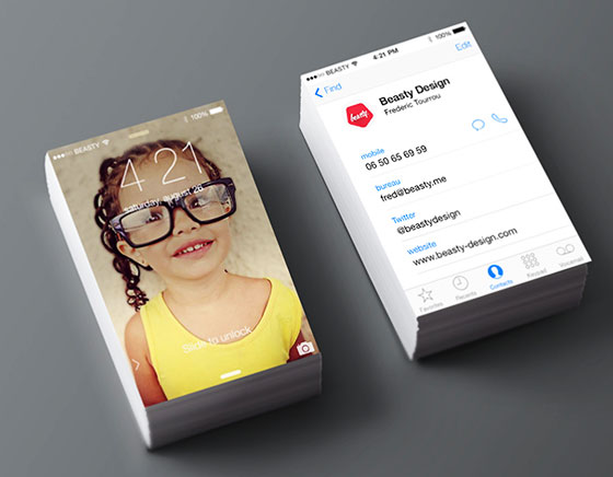 Beasty Design Cartes Visite IOS7