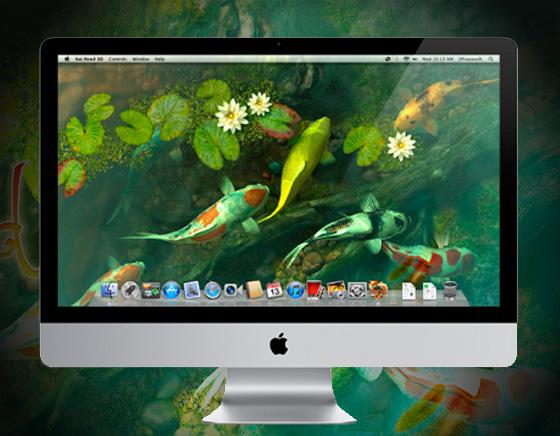 Koi Pond 3D Mac OSX Aquarium Poissons Wallpaper 1 - Koi Pond Mac - Poissons Japonais 3D en Economiseur d'Ecran (gratuit)
