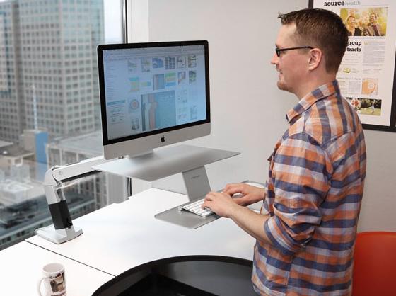 Workfit macbook imac : support en métal avec bras articulé rotatif