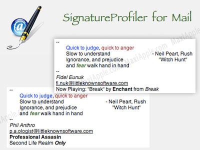 SignatureProfiler Mac OSX - SignatureProfiler Mac OSX : Plugin pour Apple Mail (gratuit)