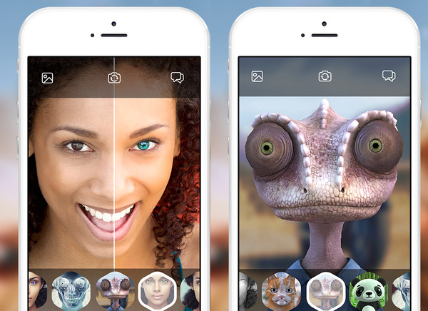 Looksery iPhone Messagerie Video 3D Mapping 1 - Messagerie Video Looksery pour Changer de Visage en Live (gratuit)