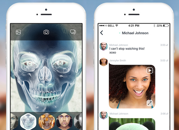 Looksery iPhone Messagerie Video 3D Mapping 2 - Messagerie Video Looksery pour Changer de Visage en Live (gratuit)