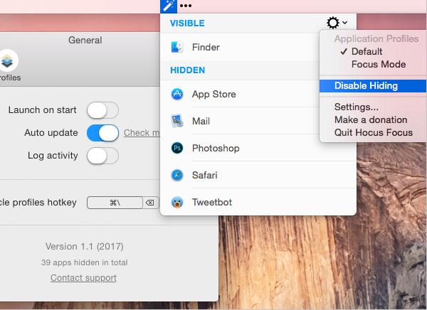 Hocus Focus Mac OSX 1 - Hocus Focus Mac - Masquage Sélectif des Fenêtres (gratuit)