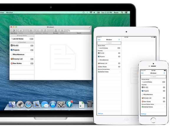 Mindown MacOS iPhone iPad - Mindown MacOS iPhone iPad : Créez, Synchronisez vos Notes et Listes (gratuit)