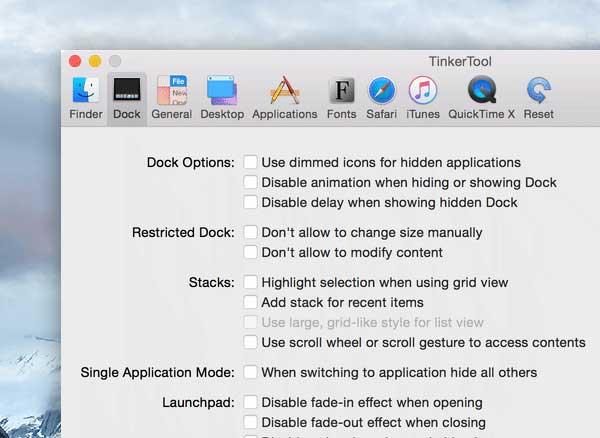 tinkertool macos mac 02 - TinkerTool Mac - Activer les Fonctions Cachées du Système (gratuit)