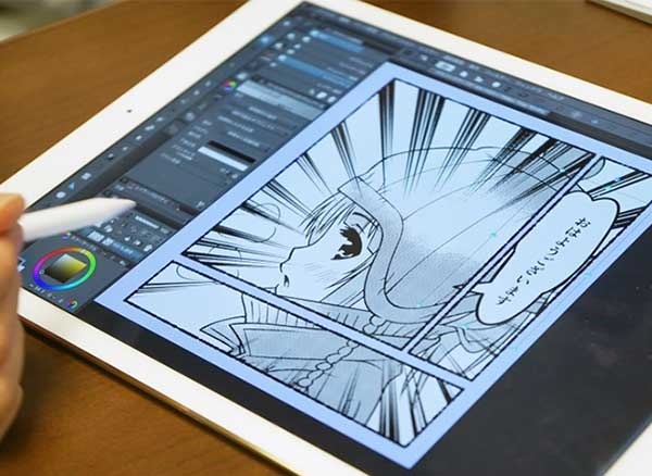 illustrations ipad pro sanpei hirado 1 - Superbes Illustrations Manga Dessinées sur un iPad Pro (video)