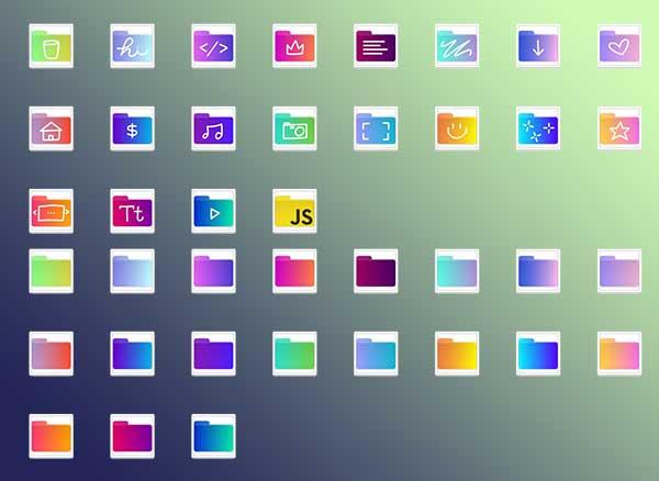 Icones Dégradé Dossiers Mac PC