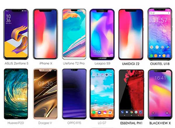 iphone x android encoche clones copies
