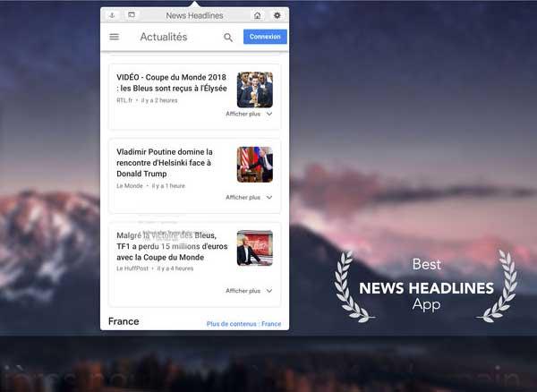 news headlines macos mac 2 - News Headlines Mac - Google Actualités dans Menu du Finder (gratuit)
