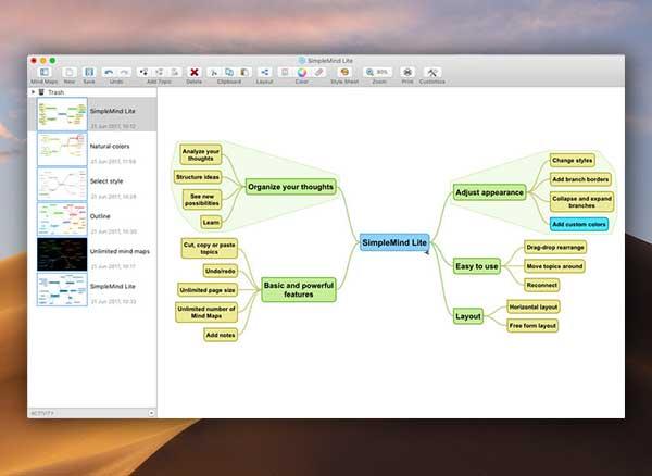 simplemind lite mind mapping macos mac gratuit 1 - SimpleMind Lite Mac - Carte Mentale et Mind Mapping (gratuit)