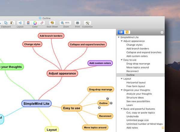 simplemind lite mind mapping macos mac gratuit 2 - SimpleMind Lite Mac - Carte Mentale et Mind Mapping (gratuit)