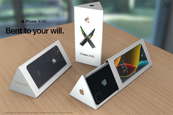 antonio de rosa concept iphone x pliable fold 3 - L'iPhone X se Prend pour le Galaxy Fold Pliable (video)