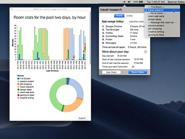 currentkey stats macos mac 1 - CurrentKey Stats Mac - Gestionnaire de Temps et Espace de Travail (gratuit)