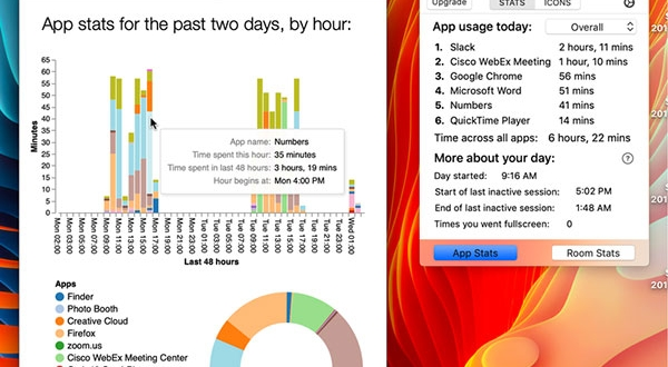 currentkey stats macos mac 3 600x330 - CurrentKey Stats Mac - Gestionnaire de Temps et Espace de Travail (gratuit)
