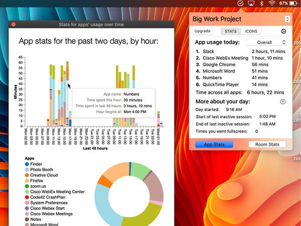 CurrentKey Stats Mac - Gestionnaire de Temps et Espace de