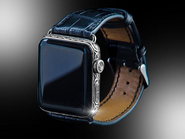 montre apple watch series 4 dimants noirs platine 1 - Montre Apple Watch Series 4 en Diamant Noir (images)