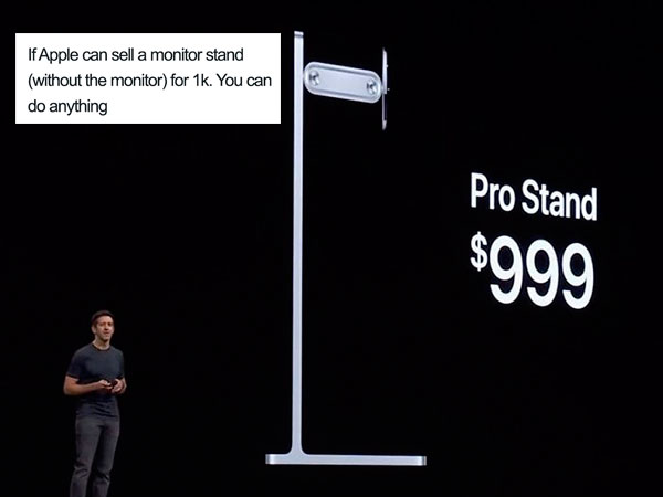 parodie trolle detournement mac pro 2019 stand support ecran apple 6 - Mac Pro 2019 et son Ecran à 6000 $ se Font Troller (images)