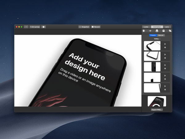 design camera rotato mac macos 02 - Rotato Mac - Créer des Mockups 3D en Video 4K et Photo (gratuit)