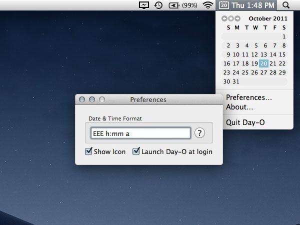 day 0 app macos mac - Day-O Mac - Horloge Calendrier dans la Barre des Tâches (gratuit)