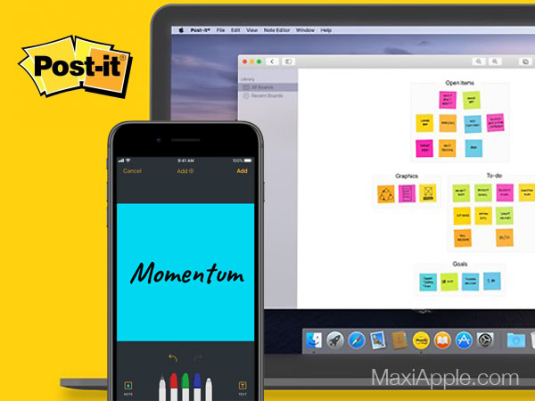 3m post it macos mac ios iphone ipad maxiapple 01 - Post-it Mac iPhone iPad - Bloc Notes Collaboratif par 3M (gratuit)