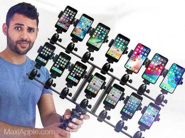 comparatif iphone toutes generation video test 01 - Déballage et Comparatif de 11 Générations d'iPhone (video)