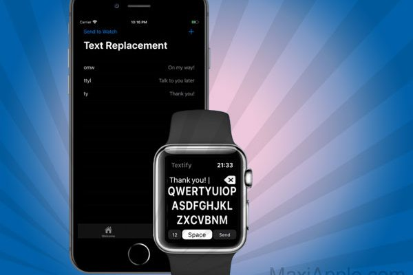 textify keyboard iphone apple watch 01 600x400 - Textify iPhone - Ecrire des Messages sur Apple Watch (gratuit)