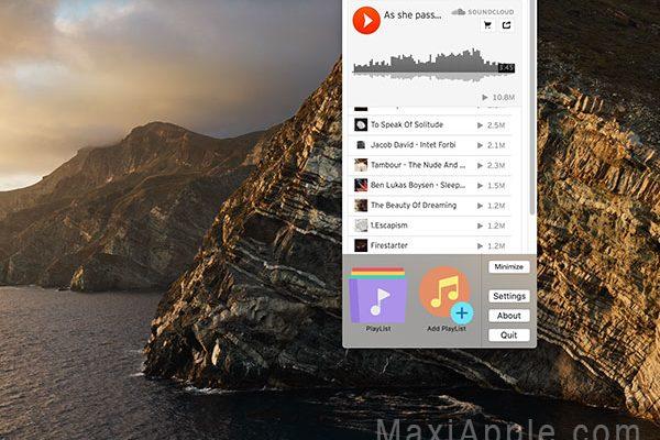 soundbar app macos mac 1 600x400 - SoundBar Mac - Musiques SoundCloud dans le Menu (gratuit)